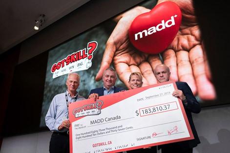 GotSkill? donates $183,810 to MADD Canada in 2019