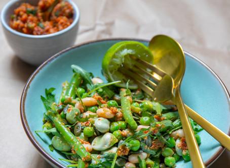 Healthy food: Groene bonensalade met homemade rode pesto