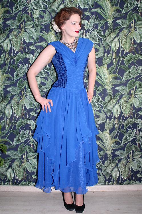 Lata siedemdziesiąte/osiemdziesiąte Vera Mont suknia wieczorowa szyfon cekiny