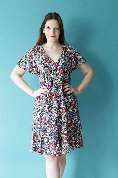 Modern retro jak lata trzydzieste kwiecista sukienka midi falbanka