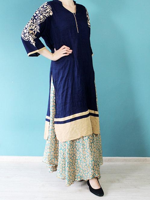 Indyjska bawełniana szata granatowa haftowana bawełna