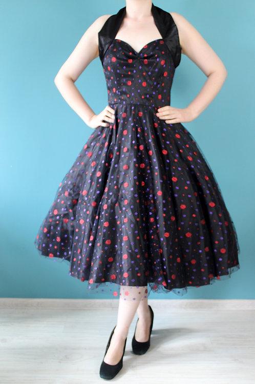 Vivien of Holloway - rozkloszowana czarna sukienka pin-up z tiulem i brokatem