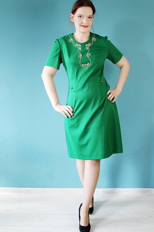 Lata sześćdziesiąte - zielona mod dress z sutaszem