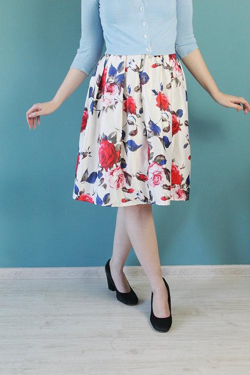 Modern retro - rozkloszowana spódnica midi pin up róże