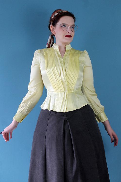 Jak lata czterdzieste - wiskozowa koszula słoneczna bishop sleeves