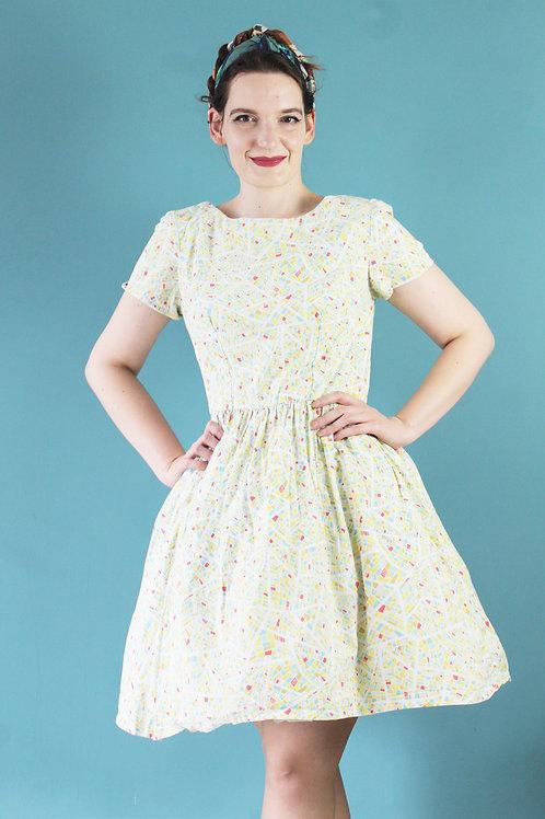 Jak lata pięćdziesiąte 100% bawełna sukienka w plan miasta