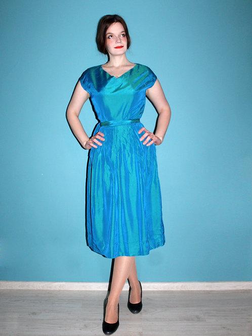 Lata czterdzieste/pięćdziesiąte morska sukienka midi elegancka