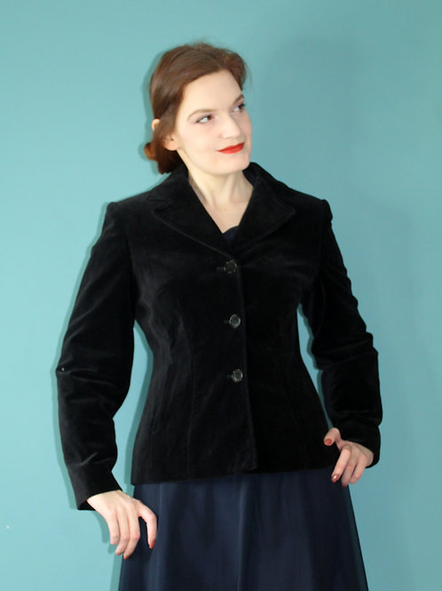 Lata osiemdziesiąte - ciepły aksamitny żakiet z bawełny czarny