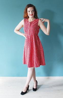 Lata czterdzieste/pięćdziesiąte - letnia bawełniana czerwona sukienka
