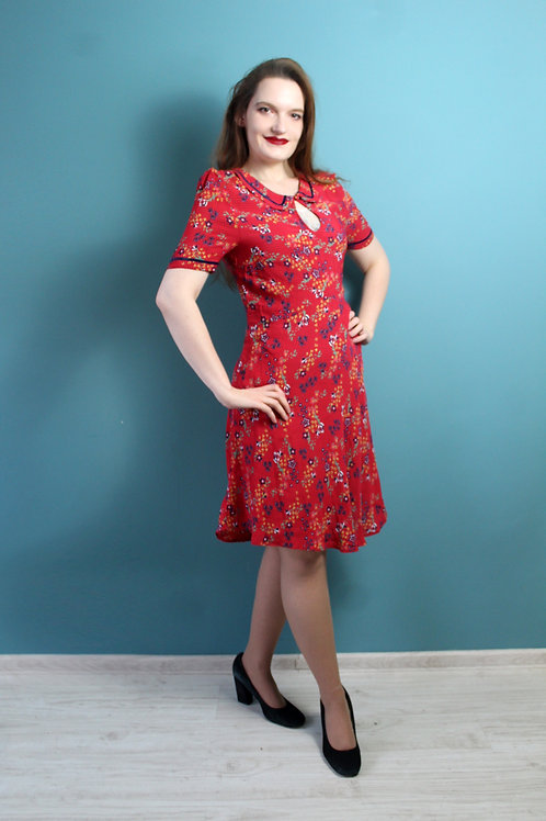 Modern retro jak lata czterdzieste - wiskozowa sukienka we wzorki midi