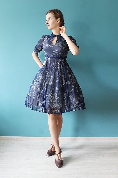 Lata pięćdziesiąte - sukienka sheer dress prześwitująca