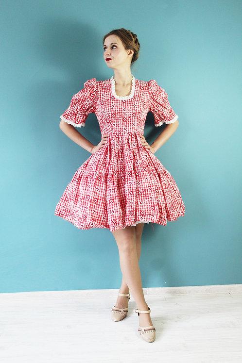 Lata pięćdziesiąte/sześćdziesiąte - bawełniana sukienka styl country