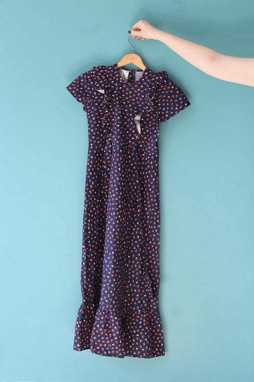Lata siedemdziesiąte- dziecięca sukienka w kwiatki cottagecore