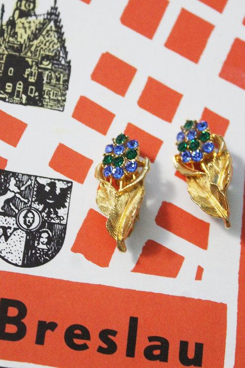 Lata pięćdziesiąte klipsy złote niebieskie kwiaty