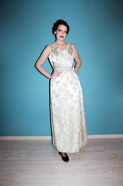 Lata sześćdziesiąte - sukienka żakardowa srebrna w kwiaty wieczorowa