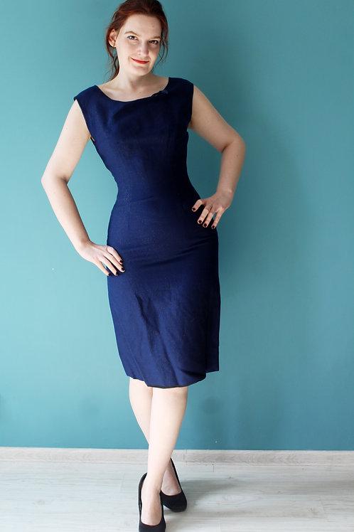 Lata pięćdziesiąte/sześćdziesiąte - granatowa ołówkowa sukienka Marschner