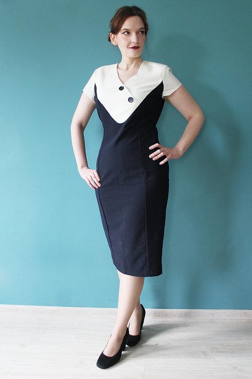 Collectif jak lata pięćdziesiąte ołówkowa sukienka marynarska