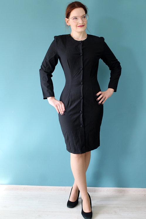 Lata 1980/90 - sukienka czarna długie rękawy szmizjerka trochę jak lata 1940te