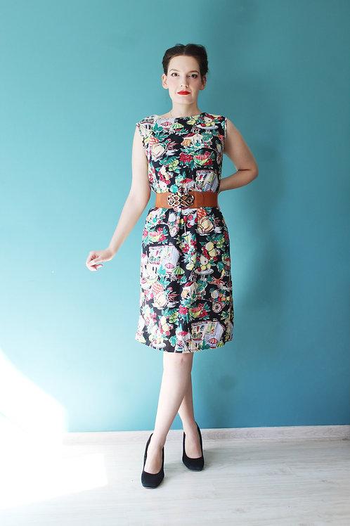 Lata pięćdziesiąte/sześćdziesiąte - ołówkowa sukienka w novelty print wozy owoce