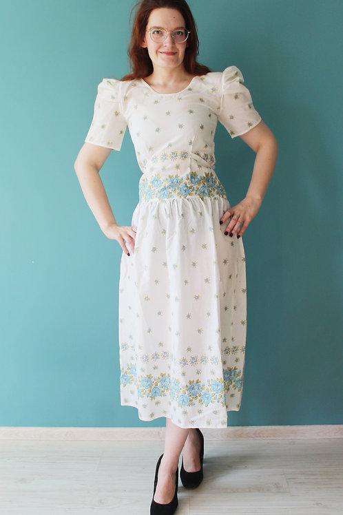 Lata siedemdziesiąte bawełniana baśniowa sukienka cottagecore
