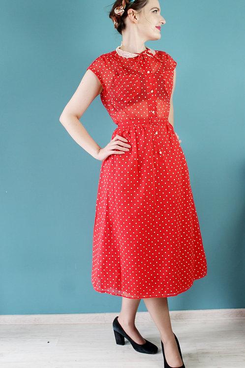 Lata siedemdziesiąte - John Bentley czerwona sukienka midi groszki jak 1940s