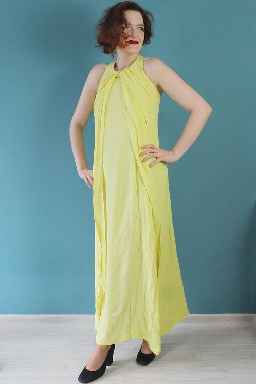 Lata sześćdziesiąte - maxi wiskozowa suknia jak dla bogini