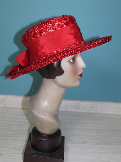 Lata czterdzieste - kapelusz syntetyczna słomka czerwony
