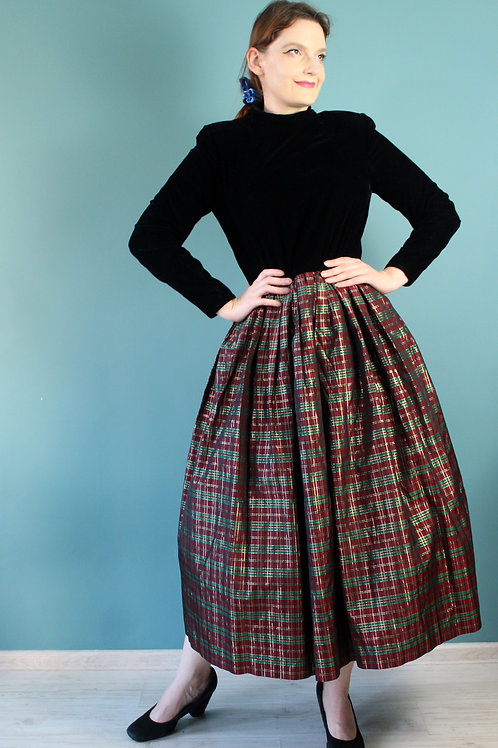 Lata siedemdziesiąte Maggy Boutique - sukienka maxi aksamit i acetat
