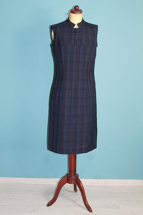 Lata sześćdziesiąte - dzienna sukienka zapinana na haftki w drobną kratkę