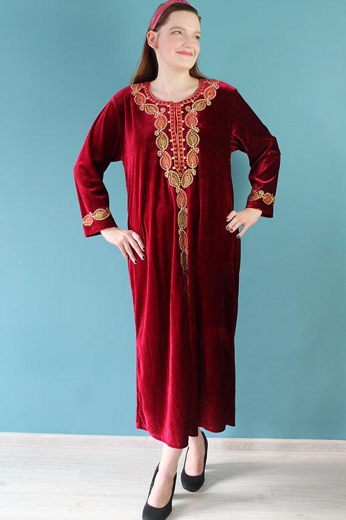 Aksamitna abaya haftowana bordowa szata