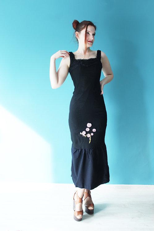 Lata pięćdziesiąte/sześćdziesiąte - suknia wieczorowa femme fatale syrena czarna