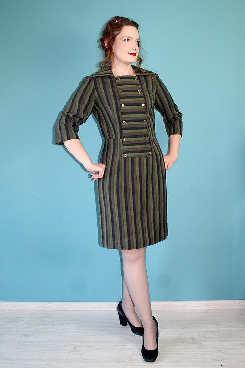 Lata pięćdziesiąte/sześćdziesiąte - pasiasta bawełniana biurowa sukienka