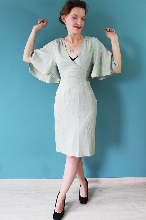 Lata sześćdziesiąte/siedemdziesiąte - Miss Fia Couture lureksowa sukienka mięta