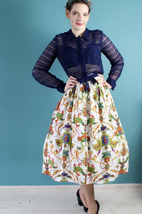 Lata osiemdziesiąte - wiskozowa spódnica rozkloszowana herby
