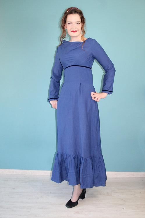 Lata siedemdziesiąte - maxi bawełniana sukienka granatowa cottagecore