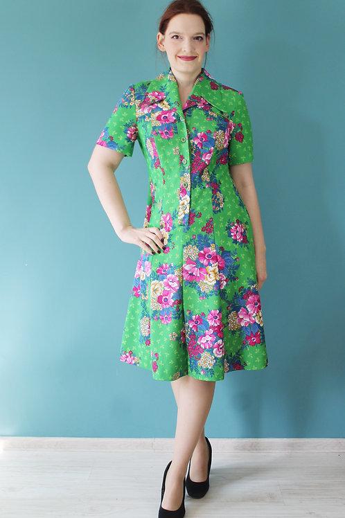 Lata sześćdziesiąte - psychodeliczna kwiecista sukienka zielona krótki rękaw