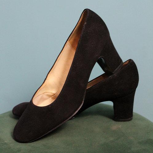 Lata pięćdziesiąte/sześćdziesiąte - pantofle Clarks zamszowe czarne