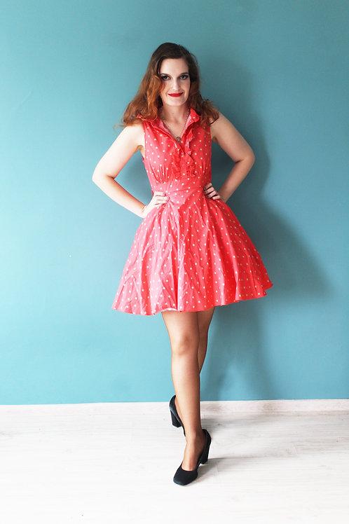 Jak lata pięćdziesiąte pin-upowa sukienka czerwona w grochy z falbanką