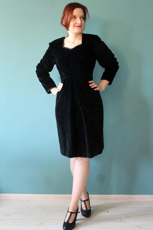 Lata pięćdziesiąte/sześćdziesiąte - sukienka tracht aksamit bawełniany