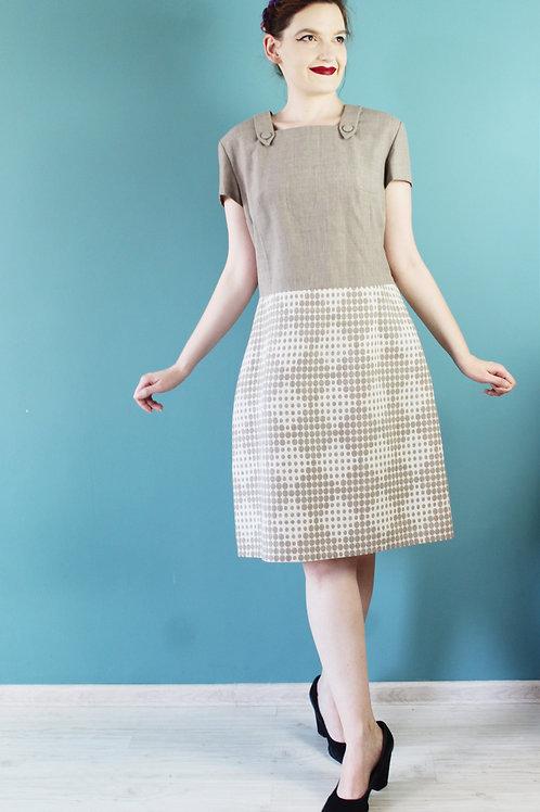 Lata sześćdziesiąte - 100% wełna beżowa sukienka biurowa Mad Men