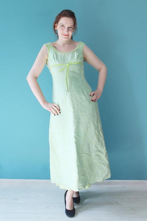 Lata sześćdziesiąte - maxi bawełniana sukienka seledynowa sylfida