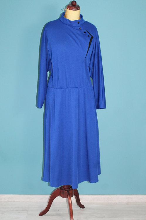 80sdoes40s dzianinowa sukienka Kays chabrowa ciekawy dekolt