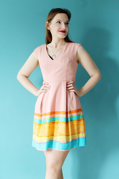Modern retro - wiskozowa letnia sukienka z akwarelowym wzorem