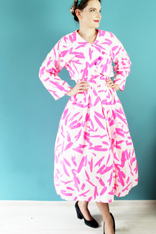 Lata osiemdziesiąte - bawełniany komplet sukienka i bolerko różowe wzory