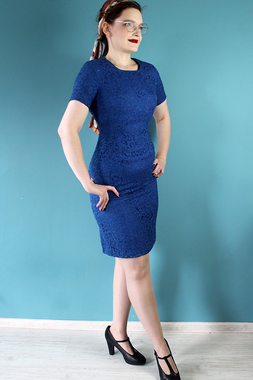 Lata pięćdziesiąte/sześćdziesiąte żakardowa niebieska sukienka koronka