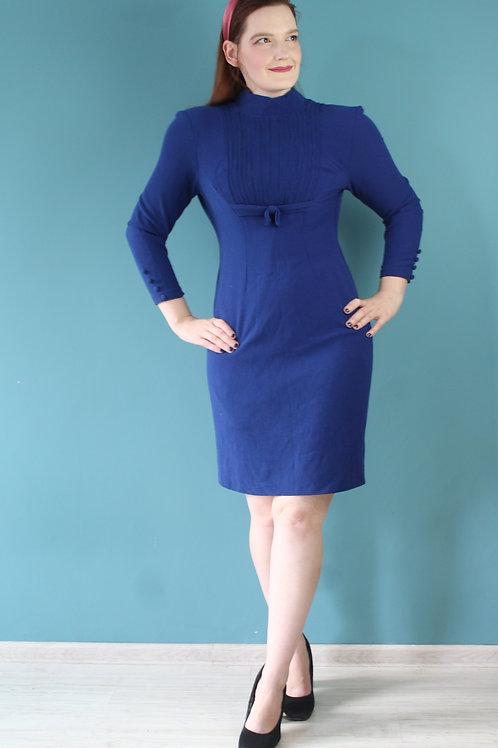 Lata czterdzieste/pięćdziesiąte - wełniana chabrowa sukienka długi rękaw