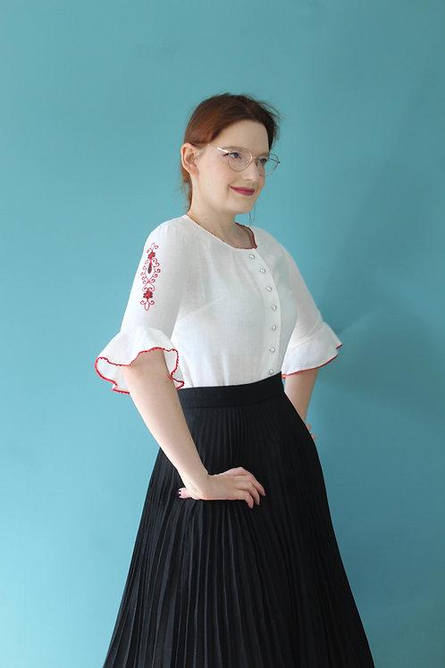 Lata siedemdziesiąte folkowa niemiecka bluzka haftowana