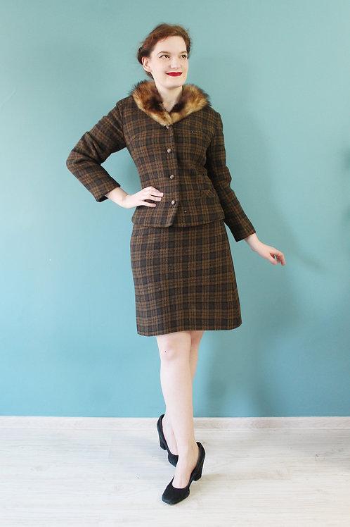 Komplet - lata sześćdziesiąte - 100% wełna spódnica i żakiet w kratę