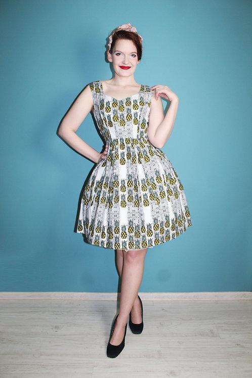 Yumi - jak lata pięćdziesiąte bawełniana rozkloszowana sukienka w ananasy