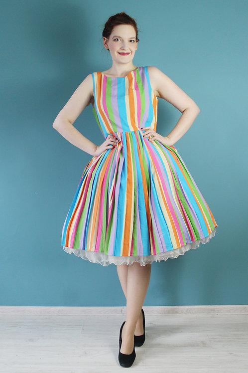 Fever London - nowa z metkami - tęczowa sukienka rozkloszowana pin-up